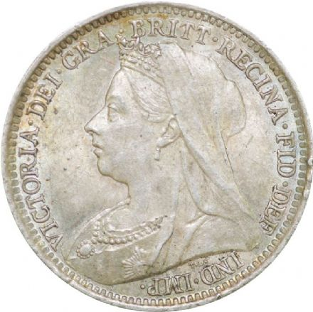 Queen Victoria Old Head Silver Threepence 1893 - 1901